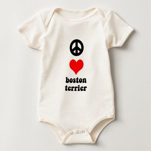 Peace love Boston Terrier Baby Bodysuit
