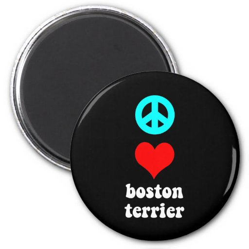 Peace love Boston Terrier Refrigerator Magnet
