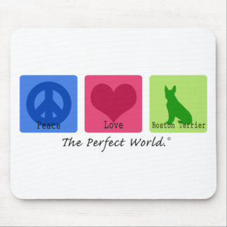 Peace Love Boston Terrier Mouse Pad