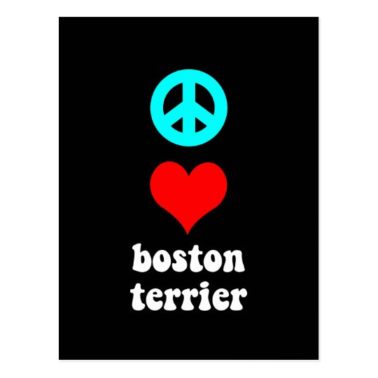 Peace love Boston Terrier Postcard