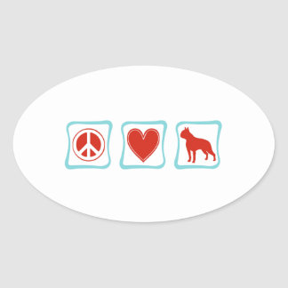 Peace Love Boston Terrier Squares Oval Sticker