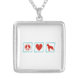 Peace Love Boston Terrier Squares Silver Plated Necklace