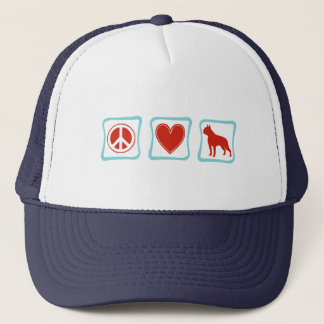 Peace Love Boston Terrier Squares Trucker Hat