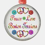 PEACE LOVE BOSTON TERRIERS METAL ORNAMENT
