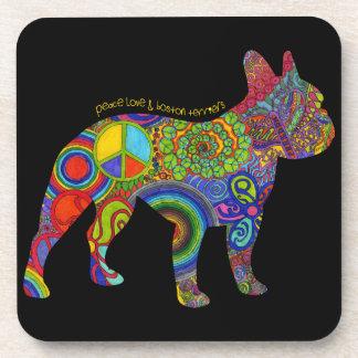 """Peace Love & Boston Terriers"" Pop Art Coasters"