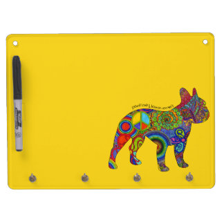 """""""Peace Love & Boston Terriers"""" Pop Art Dry Erase Dry Erase Board With Keychain Holder"""