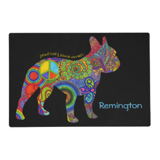 """Peace Love & Boston Terriers"" Pop Art Pet Mat"
