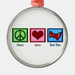 Peace Love Bow Ties Round Metal Christmas Ornament