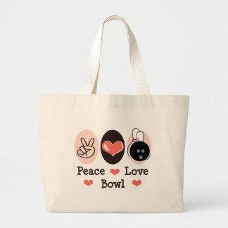 Peace Love Bowl Bowler Tote Bag