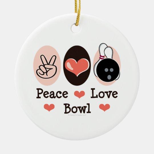 Peace Love Bowl Bowling Ornament