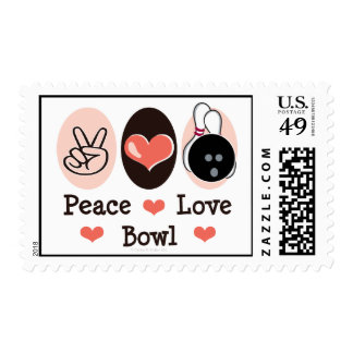 Peace Love Bowl Bowling Postage Stamps