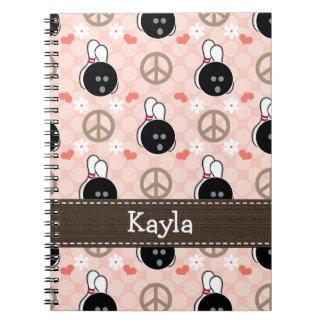 Peace Love Bowl Bowling Spiral Notebook Journal
