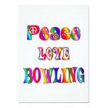 "Peace Love Bowling 5"" X 7"" Invitation Card"