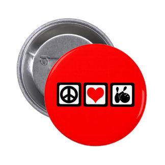 Peace love bowling button