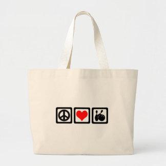 Peace love bowling canvas bag
