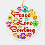 PEACE LOVE Bowling Christmas Tree Ornaments