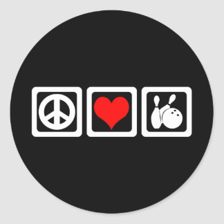 Peace love bowling classic round sticker
