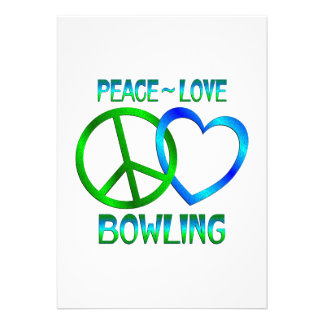 Peace Love BOWLING Custom Announcement