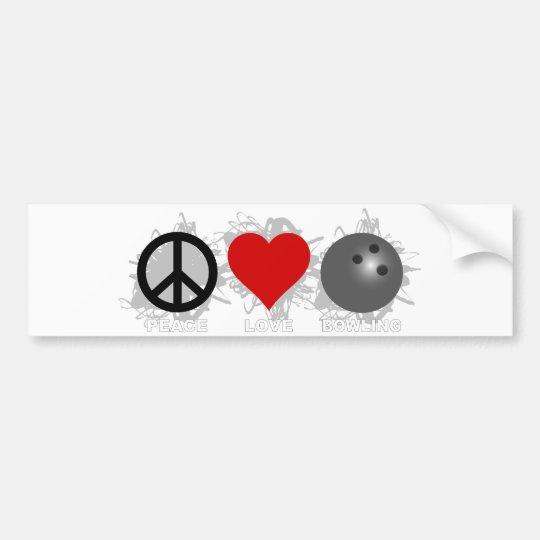 Peace Love Bowling Emblem Bumper Sticker