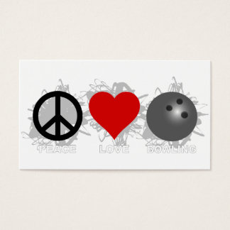 Peace Love Bowling Emblem Business Card