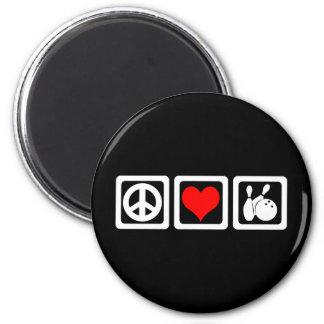 Peace love bowling fridge magnet