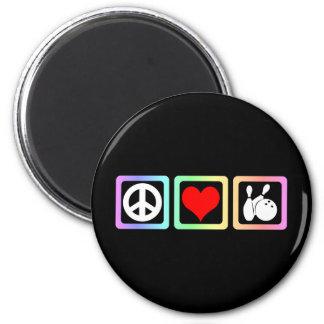 Peace love bowling fridge magnets