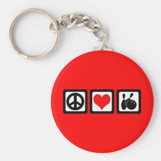 Peace love bowling key chain