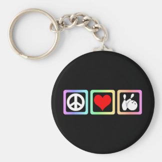 Peace love bowling key chains