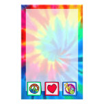 Peace, Love, Bowling Personalized Stationery