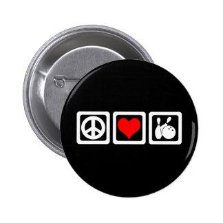 Peace love bowling pinback button