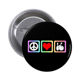 Peace love bowling pinback buttons