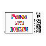 Peace Love Bowling Postage Stamps