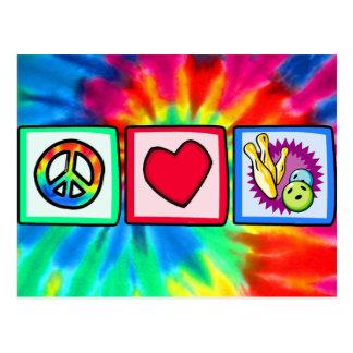 Peace, Love, Bowling Postcard