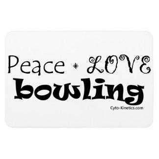 Peace Love Bowling Rectangular Photo Magnet
