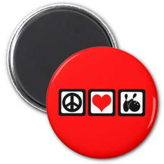 Peace love bowling refrigerator magnets