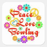 PEACE LOVE Bowling Square Sticker