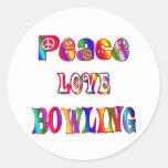 Peace Love Bowling Sticker