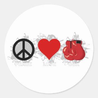 Peace Love Box Emblem Classic Round Sticker