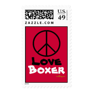 Peace Love Boxer Red Postage Stamps
