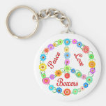 Peace Love Boxers Basic Round Button Keychain