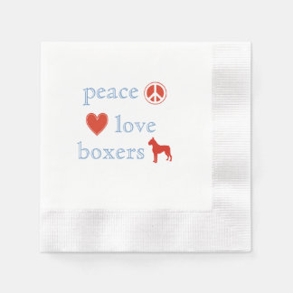 Peace Love Boxers Coined Cocktail Napkin