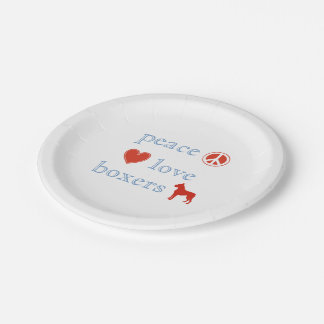 Peace Love Boxers 7 Inch Paper Plate