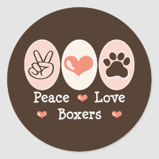 Peace Love Boxers Stickers