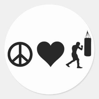 Peace Love Boxing Classic Round Sticker