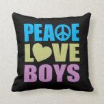 Peace Love Boys Throw Pillow