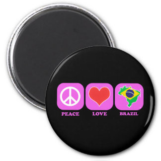 Peace Love Brazil 2 Inch Round Magnet