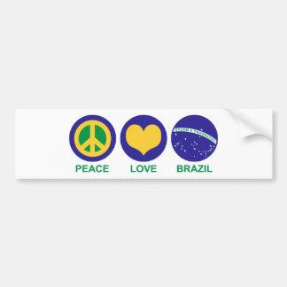 Peace Love Brazil Bumper Sticker