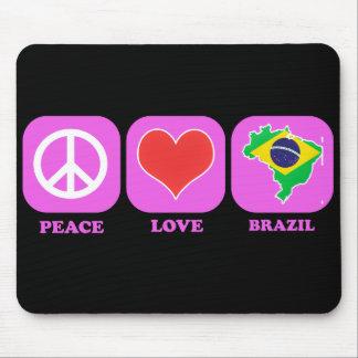 Peace Love Brazil Mouse Pads