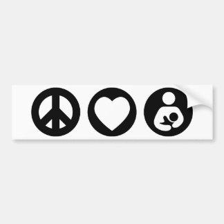 Peace Love Breastfeeding Car Bumper Sticker