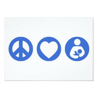 Peace Love Breastfeeding 5x7 Paper Invitation Card